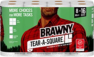 Brawny Tear-A-Square Paper Towels, 8 Rolls, 8 = 16 Regualr Rolls, 3 Sheet Size Options, Quarter Size Sheets