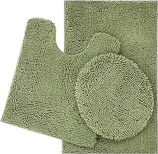 ITSOFT 3pc Non-Slip Shaggy Chenille Bathroom Mat Set, Includes U-Shaped Contour Toilet Mat, Bath Mat and Toilet Lid Cover, Machine Washable, Sage Green