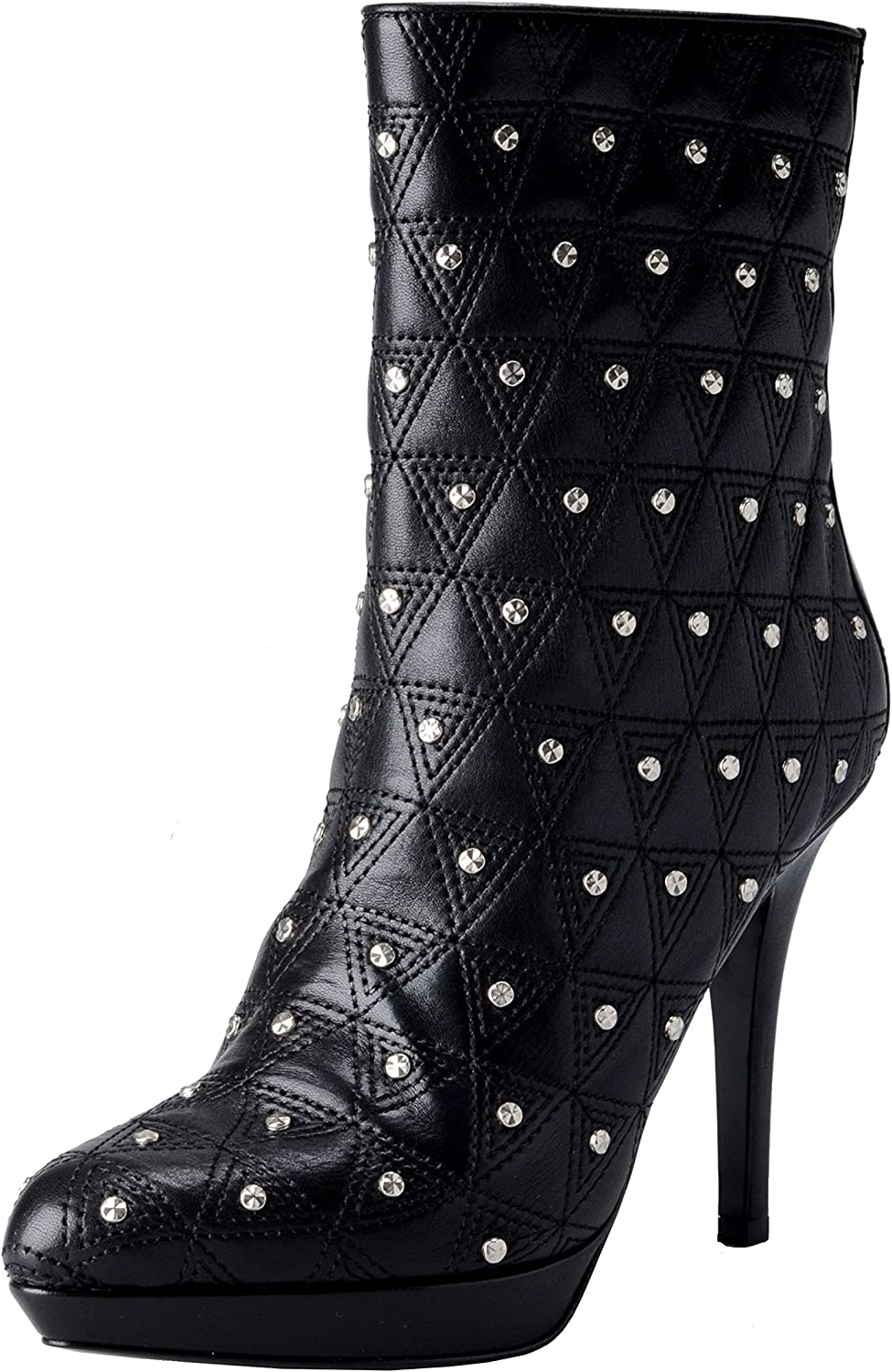 Versace Women's Leather Black Embellished High Heels Ankle Boots shoes US 5 IT 36;