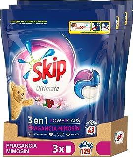 Skip Ultimate Triple Poder Fragancia Mimosín Detergente Cápsulas para Lavadora - Paquete de 3 x 43 lavados - Total: 129 lavados