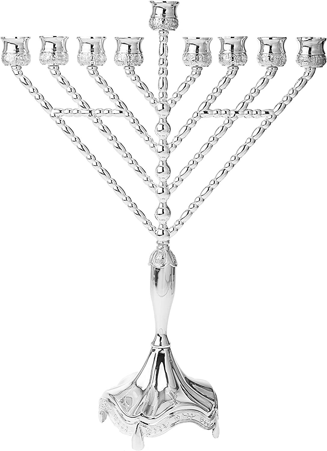 Oil Menorah Silver Plated Chabad Rambam Fits Standard Chanukah Oil Cups and Large Candles