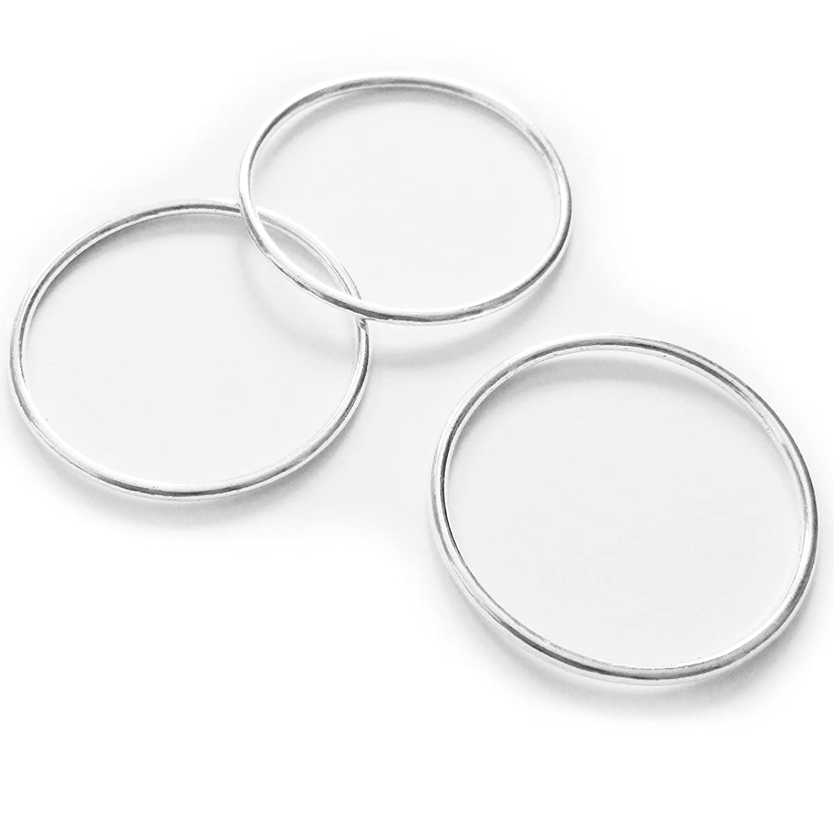 Heather's cf 35 Pieces Silver Tone-Smooth Circle-Close Circle Findings Jewelry Making-35mm)