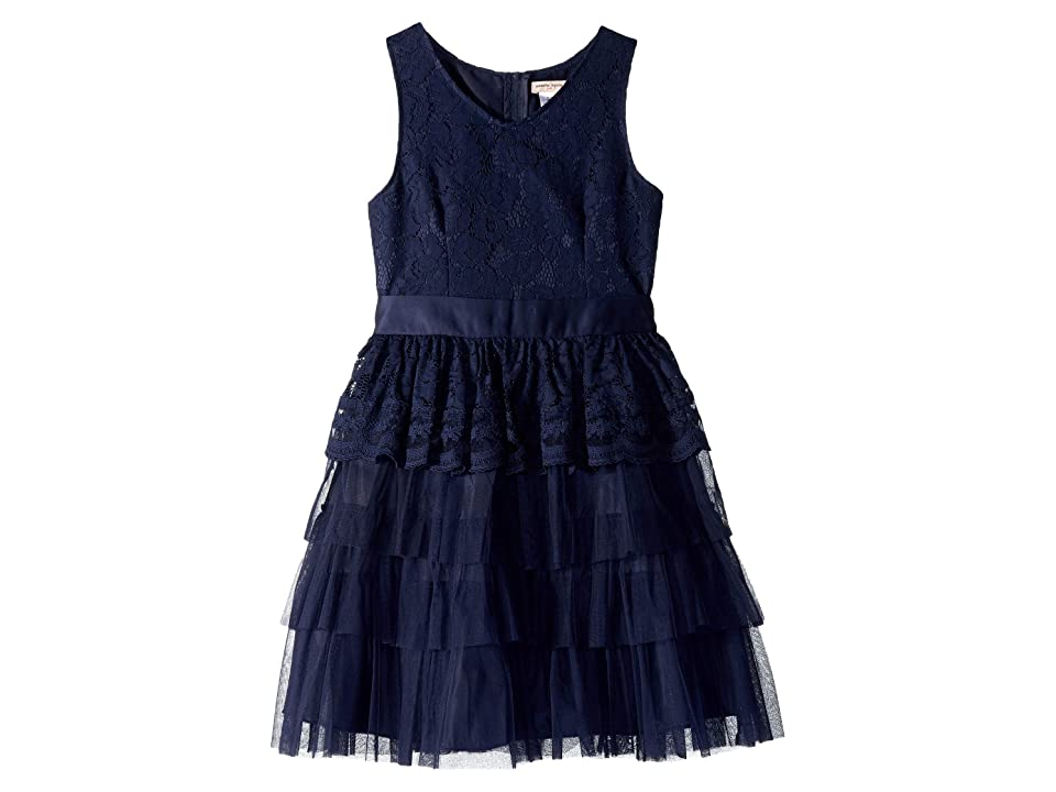 Nanette Lepore Kids Lace Organza Dress (Little Kids/Big Kids) (Navy) Girl