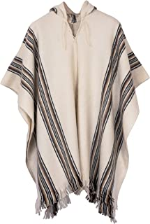 Hooded Alpaca Poncho - White with Stripes and Fringes
