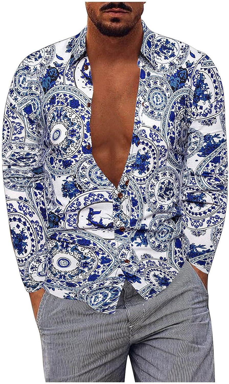 FUNEY Men's Paisley Cotton Linen Long Sleeve Casual Button Down Shirt Hipster Hip Hop Floral Print Slim Fit Dress Shirts