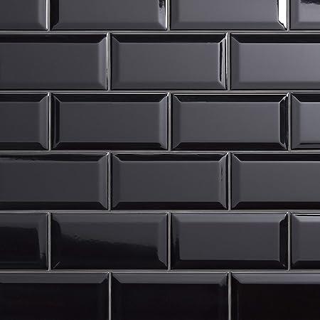 7 Square Feet Glossy Black Hello 3 x 6 Porcelain Subway Tiles