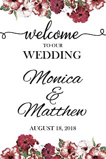 Floral Welcome Wedding Sign, Wedding Reception Banner, Welcome to Our Wedding, Custom Wedding Names Poster, Handmade Party Supply Poster Print,Size 36x24, 18x24