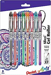 Pentel Arts Slicci 0.25 mm Extra Fine Gel Pen, Assorted Ink, 8 Pack (BG202BP8M)