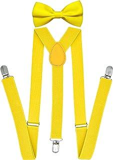 Trilece Suspenders for Men with bowtie set - Boys Women Adults - Adjustable Elastic Y Back Style Suspender Bow Tie