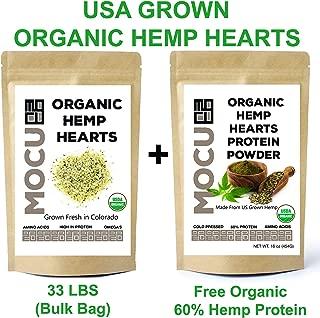 USA Grown Organic Hemp Hearts (Hulled Hemp Seeds) | 33 LB Bulk Bag + Free Bag of Org Hemp Protein Powder | Cold Stored to Preserve Nutrition | Raw, Non GMO, Gluten Free, Vegan |