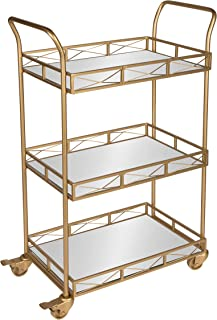Kate and Laurel Ketia 3-Shelf Metal and Mirror Tray Bar, Kitchen, Multi-Purpose Cart, Gold