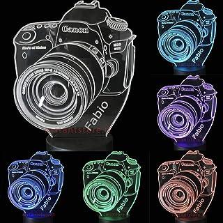 Lampada led 3d fotocamera personalizzata con nome incisa su plexiglass