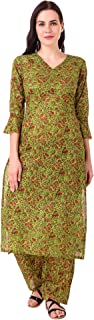 MEVE Readymade 2 Piece Matching Pure Cotton Green Floral Kurta and Palazzo Set for Women