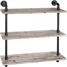 MyGift 3-Shelf Industrial Style Pipe & Rustic Wood Wall Mounted Shelving Unit