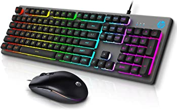 HP Gaming Keyboard and Mouse Combo - HPKM300F, Wired RGB Backlit Keyboard and Mouse, Rust & Scratch Proof Metal Penal - 6 ...