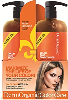 DermOrganic Color Care Shampoo and Conditioner Duo Set with Sunflower Anti-Fade Extract, 33.8 fl.oz