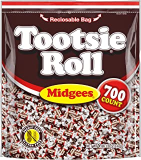 Tootsie Roll Original Chocolatey Twist Midgees, Resealable Stand-Up Bag, 700Count Halloween Candy Trick or Treat Pumpkin Filler, Peanut Free, Gluten Free