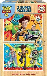 Educa - Toy Story 4, 2 Puzzles infantiles de madera ecológica de 50 piezas, a partir de 4 años (18084)