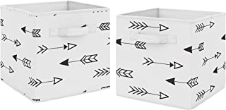 Black and White Arrow Foldable Fabric Storage Cube Bins Boxes Organizer Toys Kids Baby Childrens for Fox and Arrow Collection by Sweet Jojo Designs - Set of 2