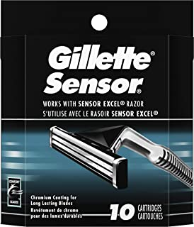 Gillette Sensor Men's Razor Blade Refills, 10 Count, Mens Razors/Blades