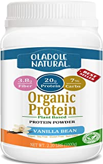 Oladole Natural Plant Based Organic Protein Powder, Vanilla Bean - Vegan, Low Net Carbs, Non Dairy, Gluten Free, Lactose F...
