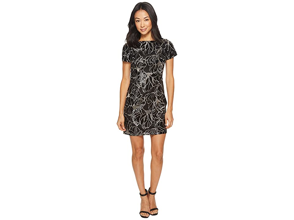 Tahari by ASL Petite Sequin T-Shirt Dress (Black/Gold) Women