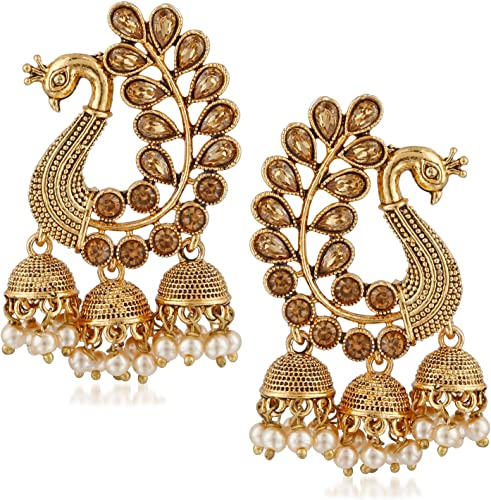 Jewellery Traditional Kundan Gold Peacock Jhumkas Jhumki Earrings for Women design