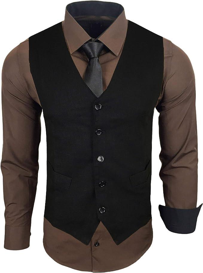 Baxboy RN-44-HWK - Camisa para hombre con chaleco, corbata, traje, negocios, boda, tiempo libre, camisa a elegir