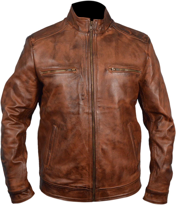 F&H Men's Genuine Cowhide Leather Brett Dalton Jacket