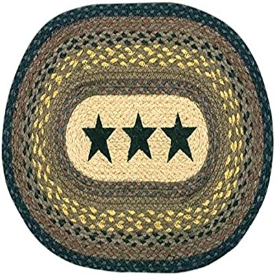 Earth Rugs 48-099 Black Star Oval Placemat, 13 by 19-Inch