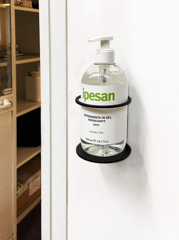 Soporte de Pared para dispensador de Gel higienizante IPEA Soporte para Botellas de Pared de Hierro jab/ón Color Negro Altura 90 mm Botellas para dispensador