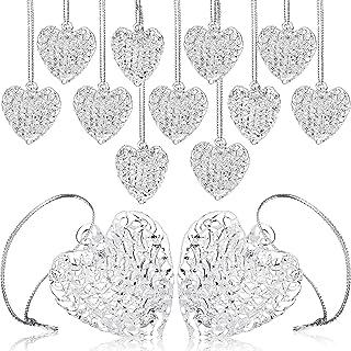 Thyle 24 Pieces Christmas Heart Glass Ornaments Clear Heart Shape Decorations Heart Shape Ornament Christmas Tree Heart Ha...