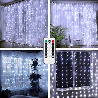 Battery Operated Curtain String Lights,300 LED Icicle Window Background Fairy Lights [Remote,8 Mode,Timer,9.8 ft ×9.8 ft, Dimmable,] Decoration Lights for Outdoor Wedding,Camping,RV,BBQ - Cool White