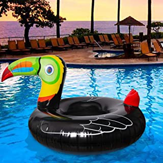 Geefuun Tropical Toucan Inflatable Pool Float Ride On Beach Swimming Ring - Hawaiian Luau Themed Water Toys Party Supplies...