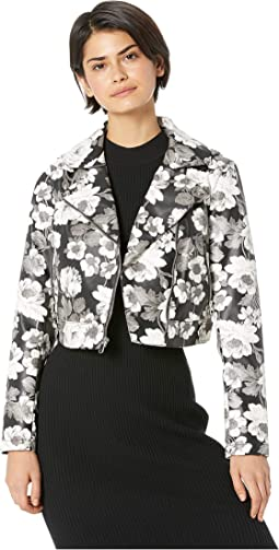 PU Floral Moto Jacket