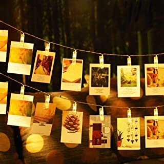 JESWELL Photo Clip String Lights 20 Led Battery Powered Led Picture Clip Light, Photo Display Lights for for Bedroom Party Wedding Birthday Christmas Decorations, 2 Light Modes, Warm White