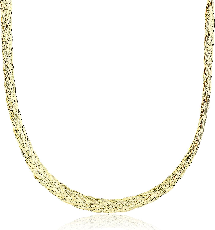 14k Yellow Gold Italian 5-Strand Diamond Cut Braided Herringbone Necklace, 18