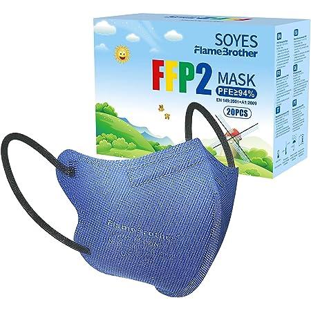 SOYES 20 ×FFP2 Masque NR Certifié Norme CE EN149, FFP2 Masque de Protection, Haute Filtration 4 Couches et Emballage Indépendant - Bleu