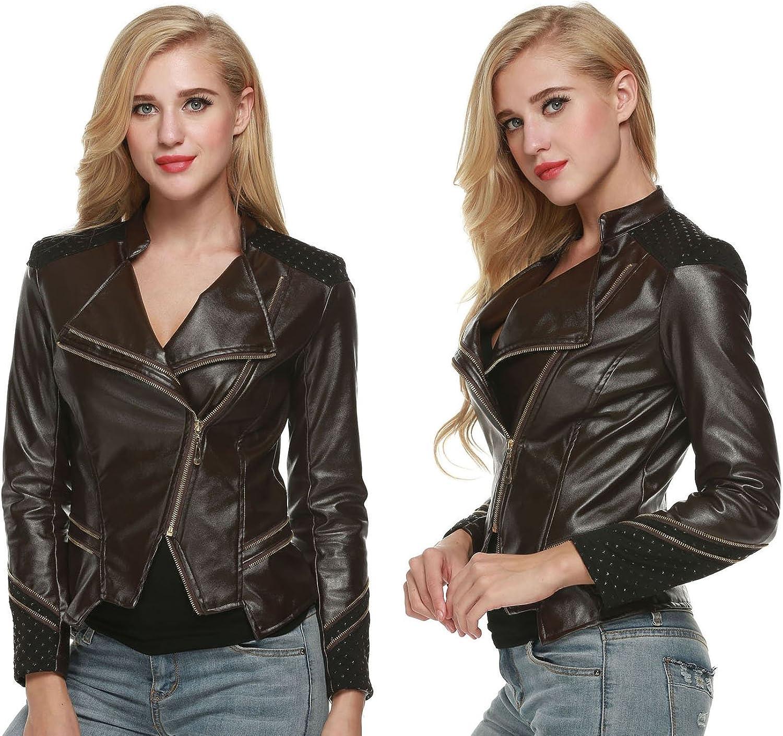 Jingjing1 Faux Leather Jacket, Women's Cool Zipper Slim Moto Biker Short Coat Jacket Outwear