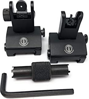 DD DAGGER DEFENSE -Combat Vet Owned Company- Flip up BUIS with Wide Grip Front Sight Tool Rail Mounted Backup Iron Sights