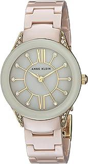 Anne Klein Women's AK/2388TNGB Swarovski Crystal Accented Gold-Tone and Tan Ceramic Bracelet Watch