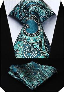comprar comparacion HISDERN Floral Paisley Wedding Tie Panuelo Corbata y conjunto de bolsillo para hombre