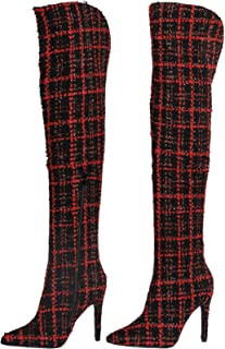 Stupmary Women's Over The Knee Boots Pointed Toe Stiletto Plaid Heels Winter Boots Thigh High Bootie Zipper