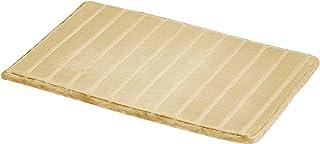 AmazonBasics - Alfombra para baño de espuma viscoelástica a rayas, Beige, 50 x 80 cm, Pack de 2