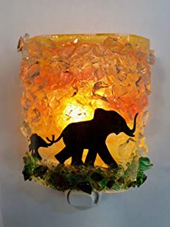 Mom Baby Elephants Serengeti Sunset Safari Fused Recycled Glass Art Night Light Nightlight Nitelite