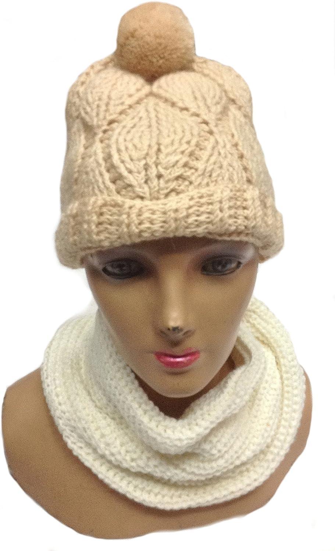Alpakaandmore, Womens Set of Beanie Hat with Muffler Scarf 100% Baby Alpaca Wool Neckscarf