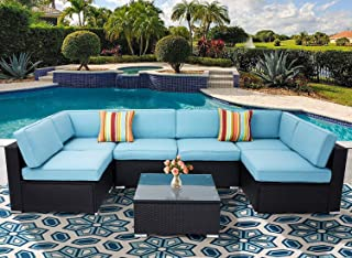 Incbruce Patio Furniture Set 7-Piece Outdoor Indoor PE Rattan Black Wicker Sectional Sofa Outside Couch, Garden Sectional Furniture Sofa with Glass Top Table and Removable Sky Blue Cushion and Pillows