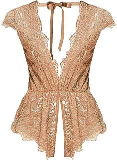 Womens Deep V Teddy Lingerie Sexy Lace Bodysuit Underwear
