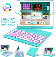 iPad Keyboard Case 9.7 for iPad 2018 (6th Gen) - 2017(5th Gen) - iPad Pro 9.7 - Air 2 & 1, 360 Rotate 7 Color Backlit Wireless/BT iPad Case with Keyboard, Auto Sleep Wake, 9.7 inch, Tiffany Blue