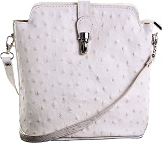 Primo Sacchi® Ladies Italian Leather Hand Made Small Ostrich Effect Front Clasp Cross Body or Shoulder Bag Handbag. Includes a Branded Protective Storage Bag.